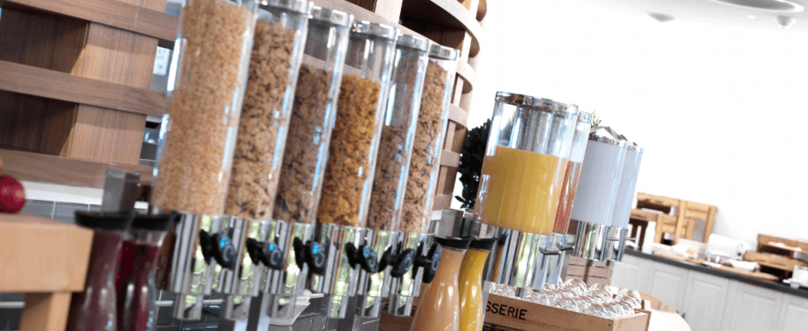 Breakfast Service with Cereals and Juice in Carafes